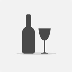 champagne and wine bottle vector icon with glass