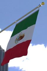 Mexico flag on sky background