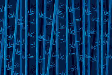 Bamboo background at night. Vector illustration