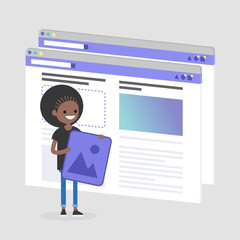 Young black female character making a content for the lifestyle media. Webpage layout. Front end developer. Technology. Flat editable vector illustration, clip art
