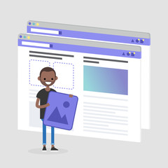 Young black character making a content for the lifestyle media. Webpage layout. Front end developer. Technology. Flat editable vector illustration, clip art