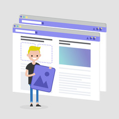 Young character making a content for the lifestyle media. Webpage layout. Front end developer. Technology. Flat editable vector illustration, clip art
