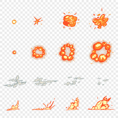 Frame animation game flashes, explosions and smoke. Vector cartoon element isolated on transparent background.