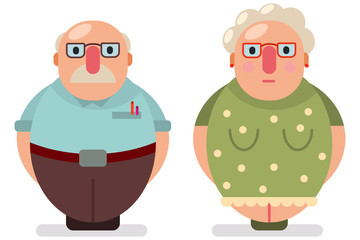 Couple old man and woman flat icon.