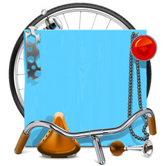 Vector Blue Wooden Board with Bicycle Spares