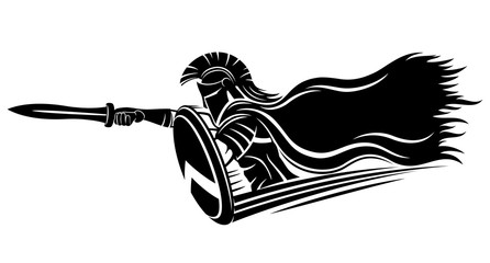 Spartan with sword and shield on white background