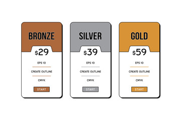 Vector of pricing table with flat style design for website and application.