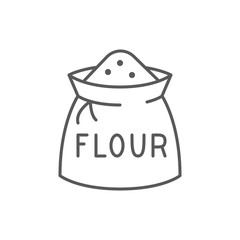 Bag with flour editable thin line icon isolated on white background.