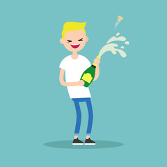 Celebration concept. Young blond boy opening a bottle of champagne and having fun. Opened champagne sprayed / flat editable vector illustration
