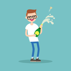 Celebration concept. Young nerd opening a bottle of champagne and having fun. Opened champagne sprayed / flat editable vector illustration