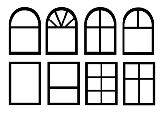 Black silhouette. Vector collection of various windows types for interior and exterior use flat style isolated on white background website page and mobile app design