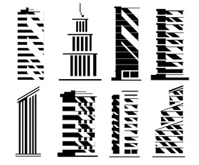 Black silhouette. Set of skyscrapers. Business building collection. City design elements. Vector illustration isolated on white background. Web site page and mobile app design