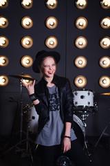 teen girl rockstar stick out tongue