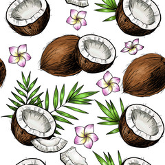 Coconuts, tropical leaves and flowers. Vector seamless pattern