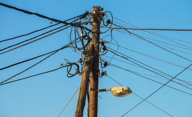 Chaotic wires of the electrical power supply on pole