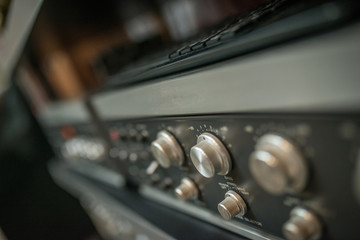 Vintage amplifier close up, old audio system