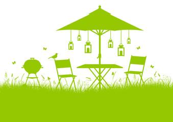 Summer Garden Background Green DIN
