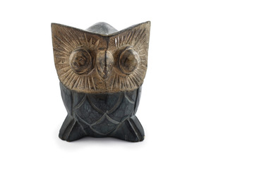 Owl wooden decoration stock images. Owl statue isolated on white background. Owl home decor