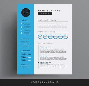 CV / resume design template blue color minimalist vector - modern curriculum vitae design