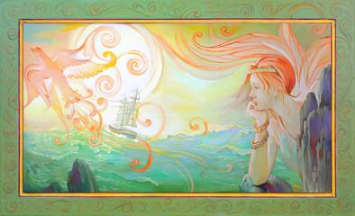 Elegy. Portrait of fairyland Celtic princess. Oil painting on wood.