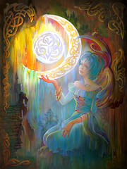 Night virginal. Portrait of beautiful girl in the ancient Celtic environment. Oil painting on wood.