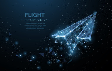 Paper airplane. Low poly wireframe mesh looks like constellation on dark blue. Illustration or background