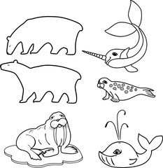 Coloring page. Set of different cartoon animals of polar fauna