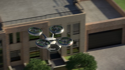 Personal flying transport of the future. In an urban environment. 3d illustration.