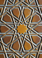 Details of a fine wood carving art on the door an islamic art and craft, from the door of kocatape mosque in Ankara