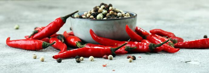 Aluminium Prints Hot chili peppers red hot bird chili pepper with pepper corns