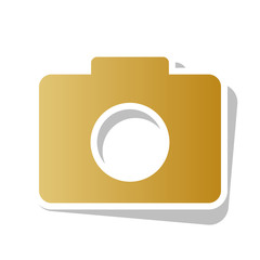 Digital camera sign. Vector. Golden gradient icon with white con