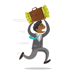 Corrupt african-american businessman running with briefcase full of money. Concept of corruption, bribery and economic crime. Vector cartoon illustration isolated on white background. Square layout.