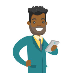 Young african-american businessman with beard looking at mobile phone screen. Happy businessman using smartphone. Vector cartoon illustration isolated on white background. Square layout.