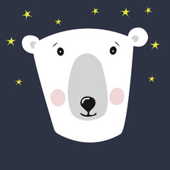 cute polar bear head illustration