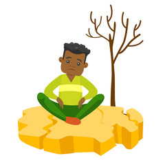 Young frustrated african-american man sitting on cracked earth near dry tree because of drought. Concept of climate change and global warming. Vector cartoon illustration isolated on white background.