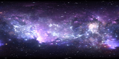 360 degree space panorama, equirectangular projection, environment map. HDRI spherical panorama. Space background with nebula and stars.