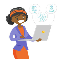 African-american student working on a laptop computer connected with icons of school sciences. Education and elearning concept. Vector cartoon illustration isolated on white background. Square layout.