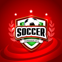 vector illustration of a football cup 2018. design of a stylish red background for the soccer championship. vector realistic 3d ball. element for design cards, invitations, gift cards, flyers.