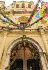 Church Door Decorations In Chaipas Mexico