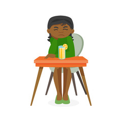 Disappointed african-american woman sitting at the table with orange alcohol cocktail. Woman in depression resting in the bar with alcohol. Vector cartoon illustration isolated on white background.