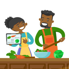 African-american couple following a vegetable meal recipe on tablet and cooking meal together. Couple looking for a recipe in a digital tablet. Vector cartoon illustration isolated on white background