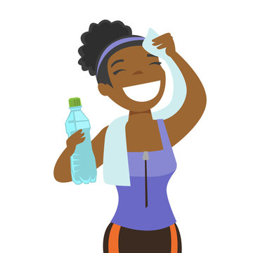 Young african-american sporty woman drinking water and wiping sweat with a towel after workout. Healthy lifestyle concept. Vector cartoon illustration isolated on white background. Square layout.