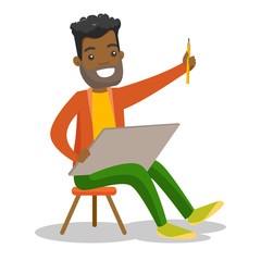 Young african-american man painting a picture on canvas. Cheerful artist working on a picture with a pencil. Vector cartoon illustration isolated on white background. Square layout.