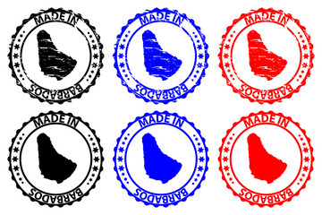 Made in Barbados - rubber stamp - vector, Barbados map pattern - black, blue and red