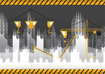 Paper cut under constrcuction building and crane vector illustration