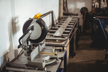 Circular saw machine on a table