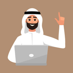 Vector portrait of smiling brunette arab man with laptop. Student learning illustration contains moslem boy with his hand up as a sign of an idea