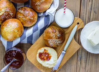 homemade buns with sesame seeds