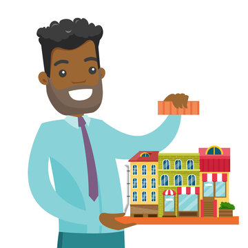 Young african-american real estate agent presenting the model of city. Sales manager holding the project of a new city district. Real estate market concept. Vector cartoon illustration. Square layout.