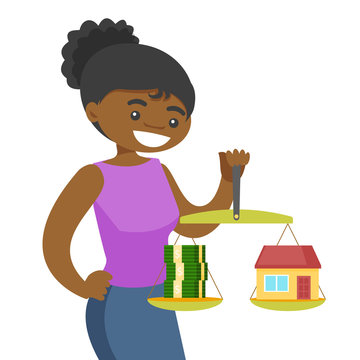 African-american woman holding scales with stack of money and the model of house. Woman choosing between savings and real estate investment. Vector cartoon illustration isolated on white background.